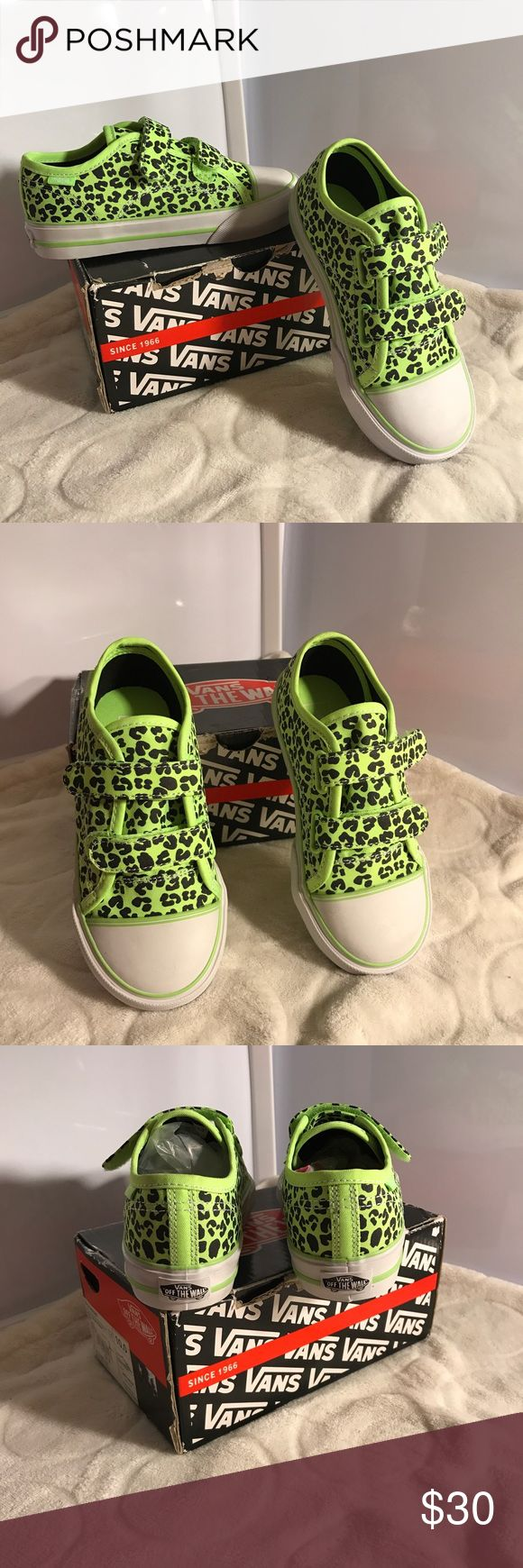 🎀VANS Neon leopard in a green NWT **VANS NEON LEOPARD GREEN VELCRO TIE** 💗NO TRADES/HOLDS💗 -brand-new -size 10T (older toddler/small kid size) -never used -comes in original box -super fun colors and print -iconic style -to Velcro ties on each shoe -comes from a pet free and a smoke free home Vans Shoes Sneakers