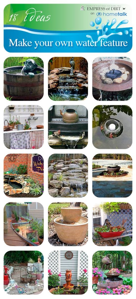 Make your own water feature | Hometalk This link leads to the Empress of Dirt. Lots of interesting ideas for the garden. NE USA/canada