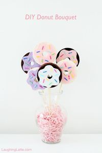 DIY Donut Bouquet, an easy craft perfect for National Donut Day, a brunch party or a just a table centerpiece! - Laughing Latte