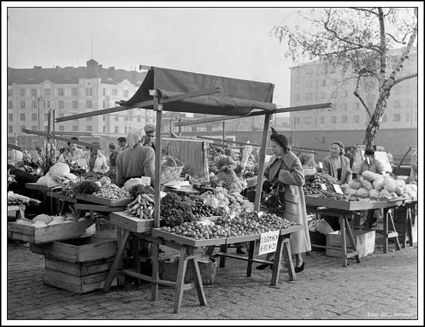 Helsinki Finland Hakaniemi Market Square 1940s