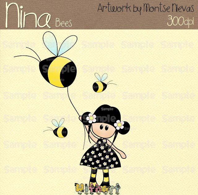 Nina dolls clipart, digital Illustration by Withart for scrapbooking, cardmaking and crafts. Spring, doll, bees. www.etsy.com/shop/withart