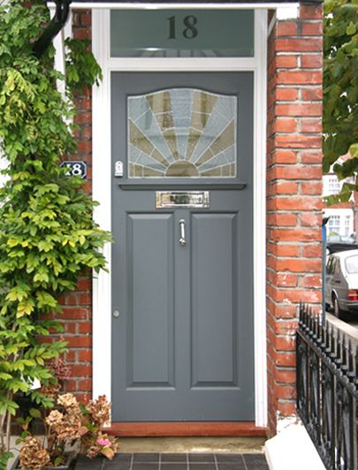 front door colour and glass above door with number