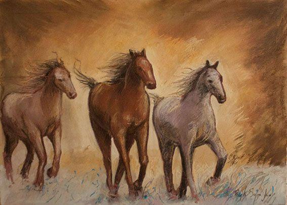 Cavalli in corsa di Pasquale Scognamiglio - gessetti e pastelli su tavola