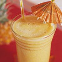 Tropical Mango Smoothie        1/2 cup(s) pineapple juice, chilled      1 cup(s) diced mango      1 banana, sliced      2 teaspoon(s) fresh lime juice      1/2 teaspoon(s) grated, peeled fresh ginger      3 ice cubes    Directions        In blender, combine pineapple juice, mango, banana, lime juice, ginger, and ice and blend until mixture is smooth. Pour into 1 tall glass.