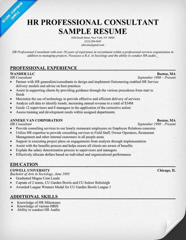 Hr Professional Consultant Resume Resumecompanion Com