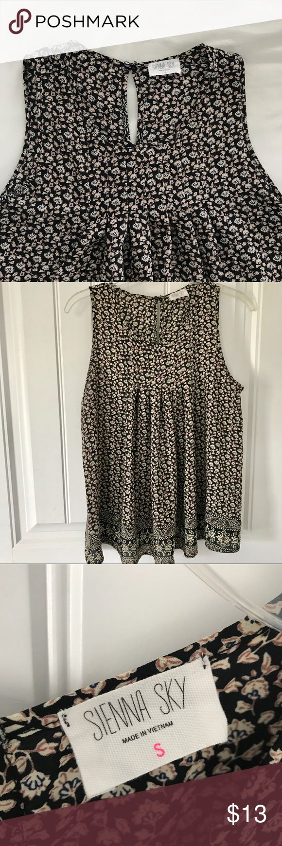 Sienna Sky sleeveless blouse NWOT Sienna Sky sleeveless blouse • condition: like new/excellent, never worn • color: black with floral pattern, cream, burgundy, dark blue. last photo shows sheerness when held up to sunlight • size: s, fits true to size • brand: Sienna Sky, purchased at boutique in Cape May, NJ.📍 bundle 2 for a private offer, or make your own!  accepting all reasonable offers!🤝 Sienna Sky Tops Blouses