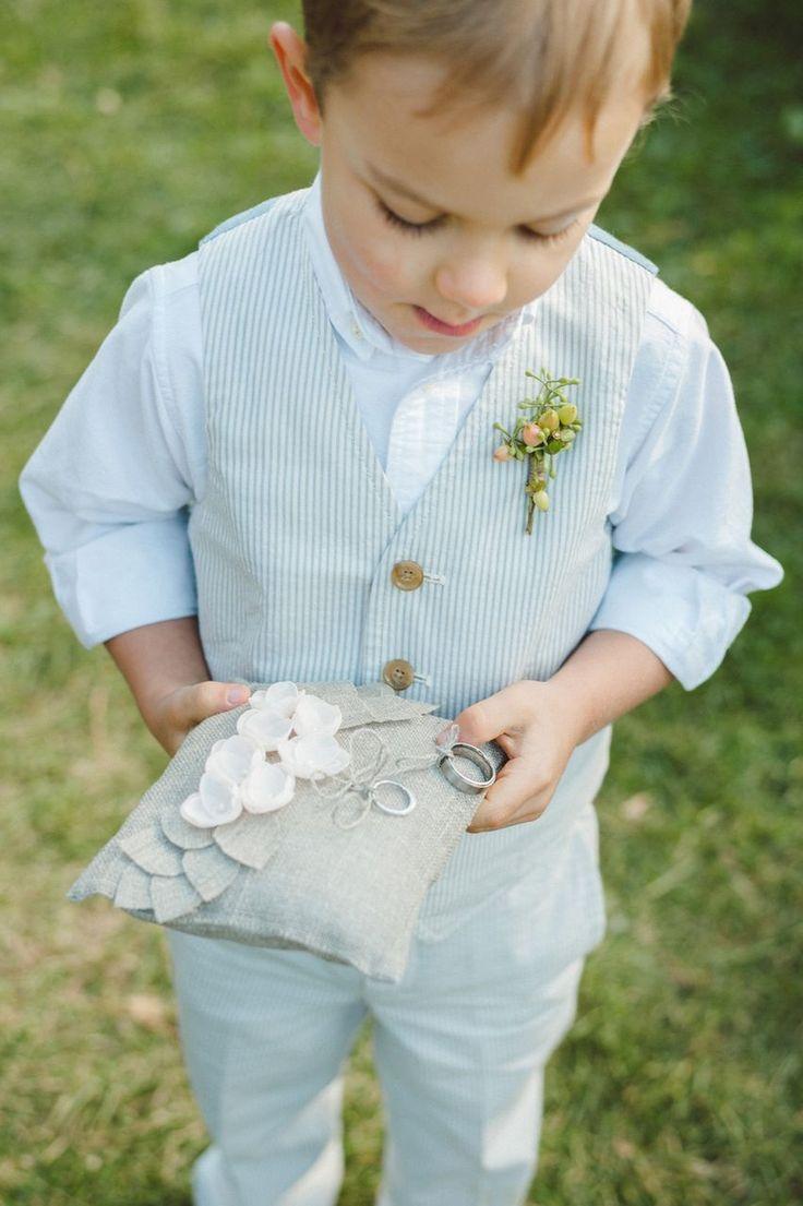 Preppy ring bearer in seersucker {Photo by Jeff Loves Jessica via Project Wedding}