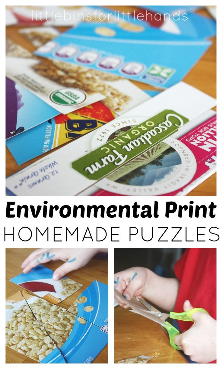 Environmental Print Puzzles Scissor Skills Activity.  Children can use environmental print for early literacy activities.  Ask children to cut the box for some fine motor practice.