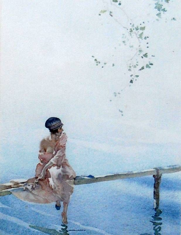 William Russell Flint - Phillida-and-Clarissa-fishing
