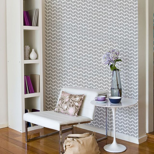 clean gray chevron accent wall. might look nice in the guest bathroom upstairs: Side Table, Chair, Geometric Patterns, Interior, Reading Corner, Chevron Wall, Space, Accent Wall