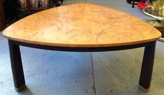 Triangular coffee table, w/burl wood top. Edward Wormley for Dunbar 33 x 33 5/8 x 14 1/4h Dealer PSA $3200