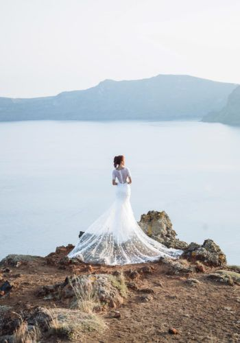 Santorini Prewedding Photoshoot with Camille Co - gown Vera Wang