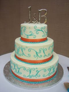 Orange and Turquoise Wedding Decorations | Creative Cakes By Angela: Turquoise and Orange Wedding Cake