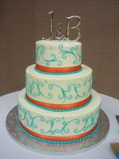 Orange and Turquoise Wedding Decorations   Creative Cakes By Angela: Turquoise and Orange Wedding Cake