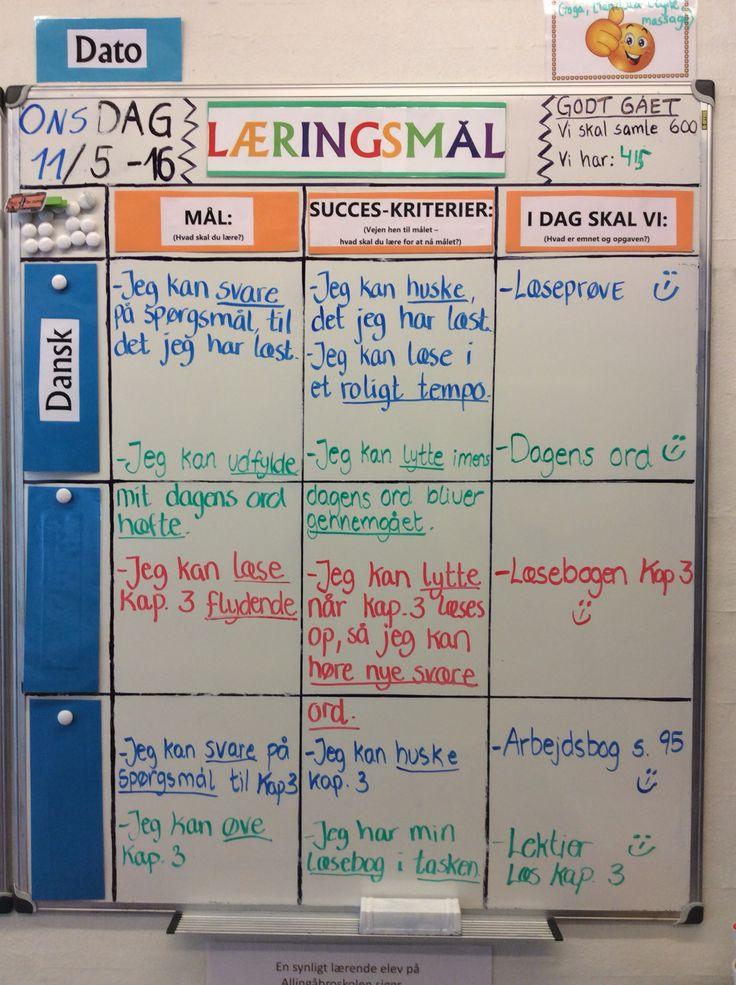 Dagens læringsmål i 3 klasse med koncentreret fokus på læsning ....