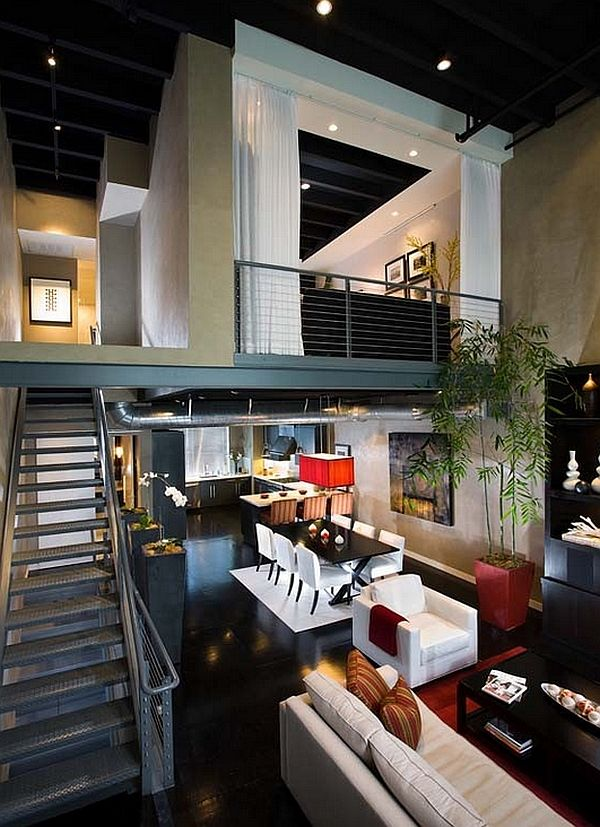 Industrial loft with a mezzanine level that could be treatment rooms, employee break room, etc. -EB