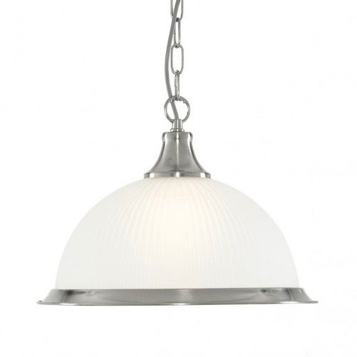 Bring an American diner theme to your kitchen with this pendant light. Its finished in satin silver with clear ribbed glass.