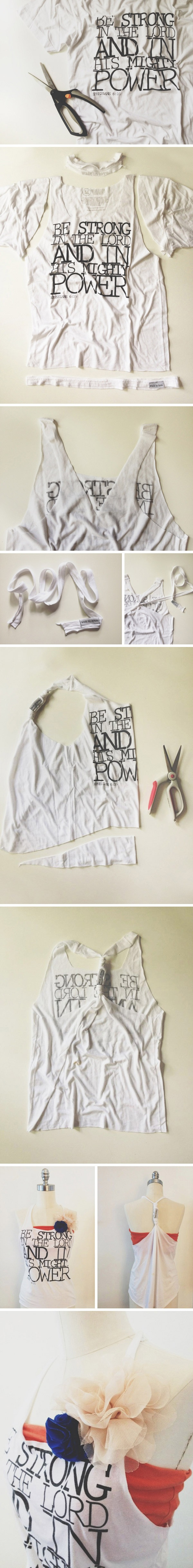 Blog   walk in love. / how to make a tshirt into a tanktop / DIY -- although I would leave off the flower, it's cute!