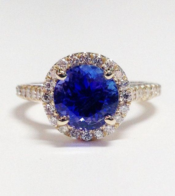 2.75CT Tanzanite Gemstone Color Stone Round Halo Art Deco Ring