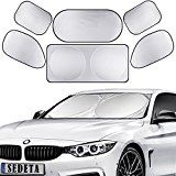 TraderPlus 6Pcs Full Car Sun Shade Folding Silvering Reflective Car Window Sun Shade Visor Shield Cover