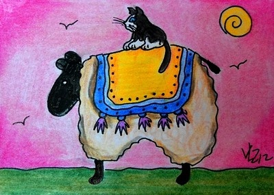 CAT ON A SHEEP ACEO ON EBAY