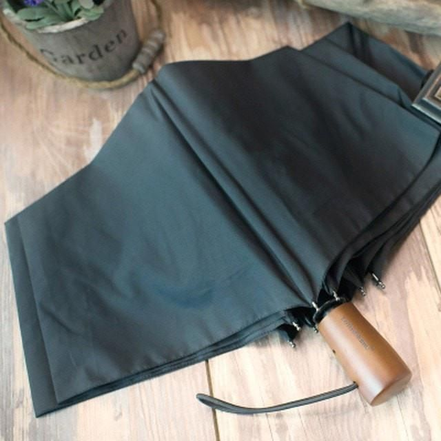 Large Quality Wooden Handle Automatic Windproof Anti-UV Folding Umbrella 2 Colors
