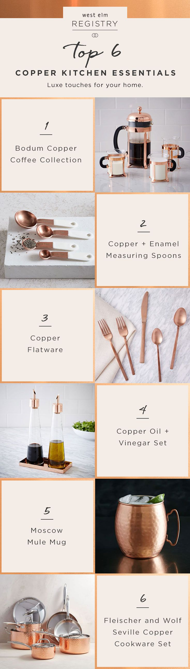 We've rounded up 6 copper kitchen essentials that should be on everyone's wedding registry! Ready to start yours? Head over to westelm.com to create your registry now!