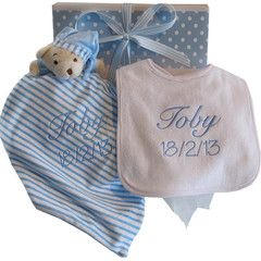 Personalised baby taggy blanky and bib set.