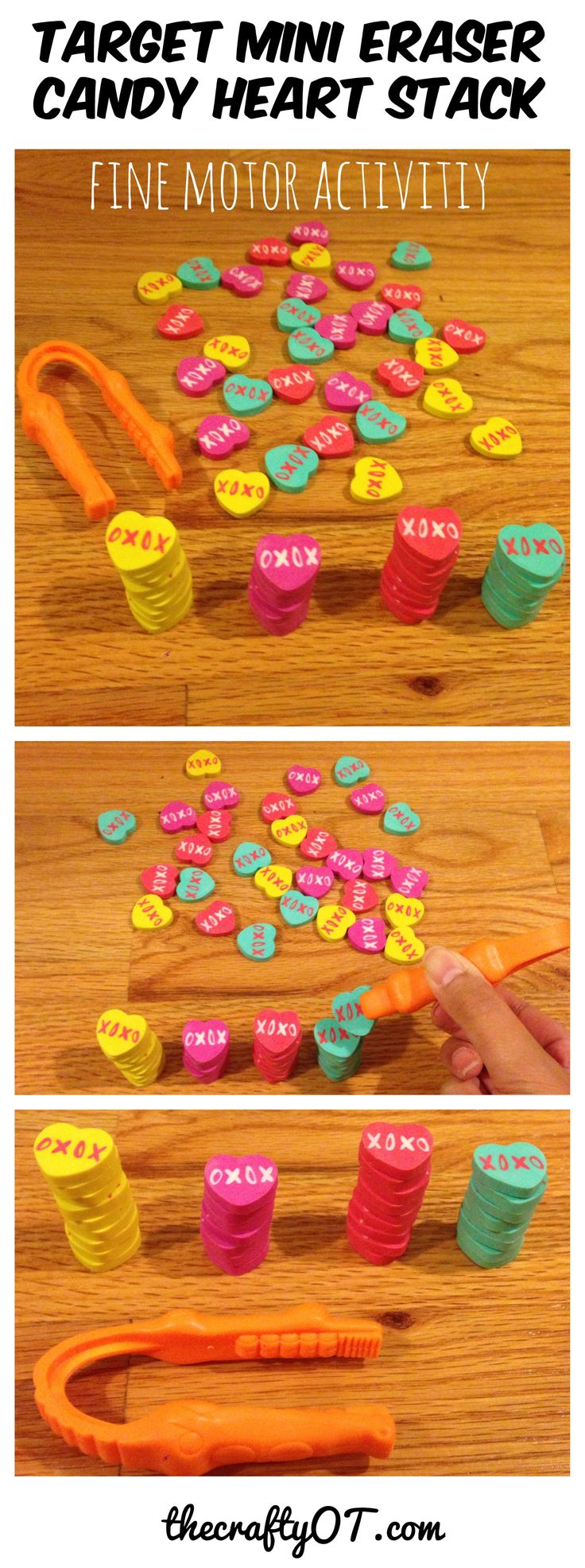 d03a0536566f823aeace36e2a5cd27b0 - Fine motor candy heart stack, Target mini erasers, valentine's day 2018, hand st...