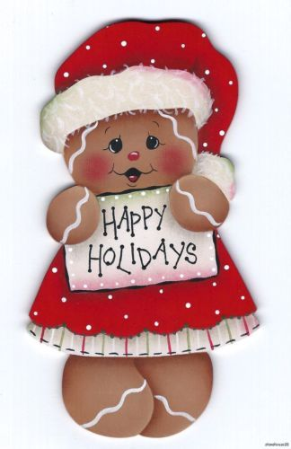 GINGERBREAD Happy Holidays - Designed and handpainted by Pamela House