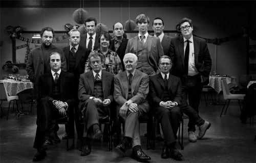 The main cast from the film Tinker, Tailor, Soldier, Spy, along with novelist John Le Carre, and film director Thomas Alfredson...