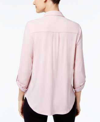 Ny Collection Petite Utility Shirt with Necklace - Pink P/XS