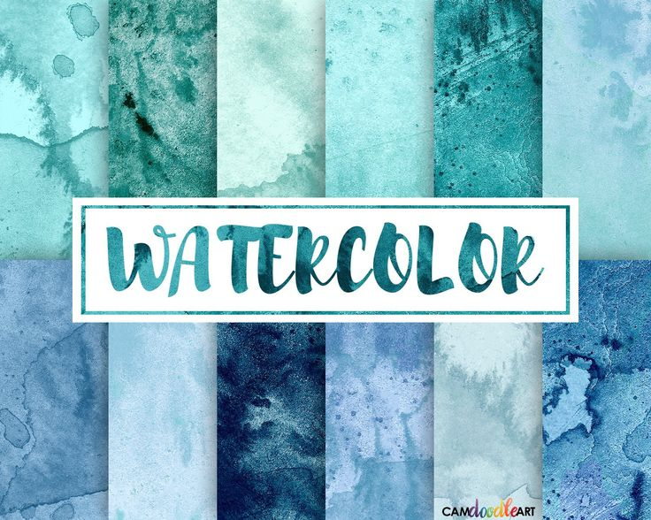 Watercolor Digital Paper Pack,Teal and Blue, Turquoise, Scrapbooking Paper,Cardmaking,  Watercolor Texture, Watercolor Background by CamDoodleArt on Etsy
