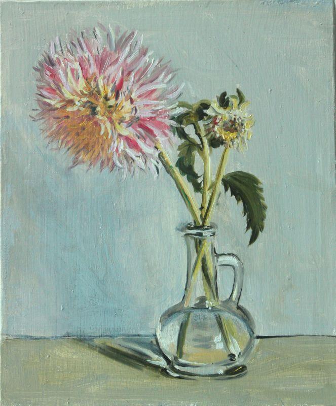 #painting#flower#stil life#stil lifes#flower stil life#daliya#pink#grey#art#oil