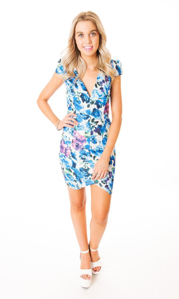 blue floral cocktail dress Click to buy now