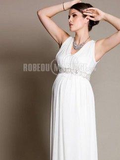Robe de mariée enceinte empire ceinture robe de mariée mousseline