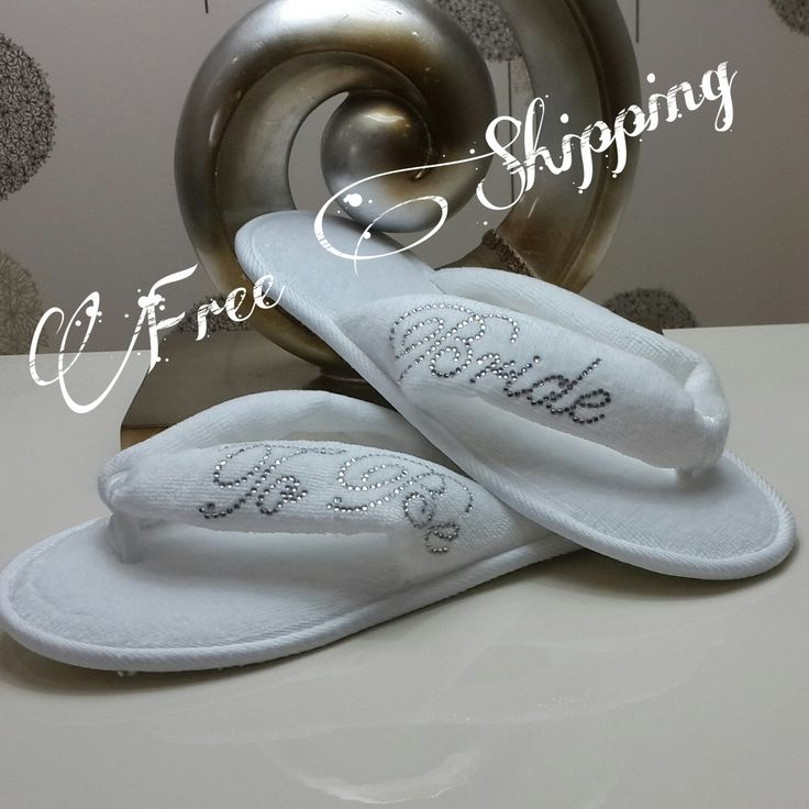 FREE SHIPPING Brides Wedding Slippers, Honeymoon slippers - Velour flip flop slippers printed with rhineshine stones, Bridal shower by LAMEDORE on Etsy