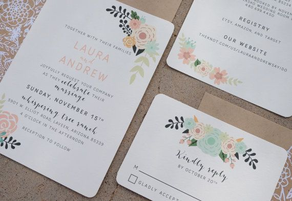 Country Bohemian Floral Wedding Invitation by ToughAndTenderCo
