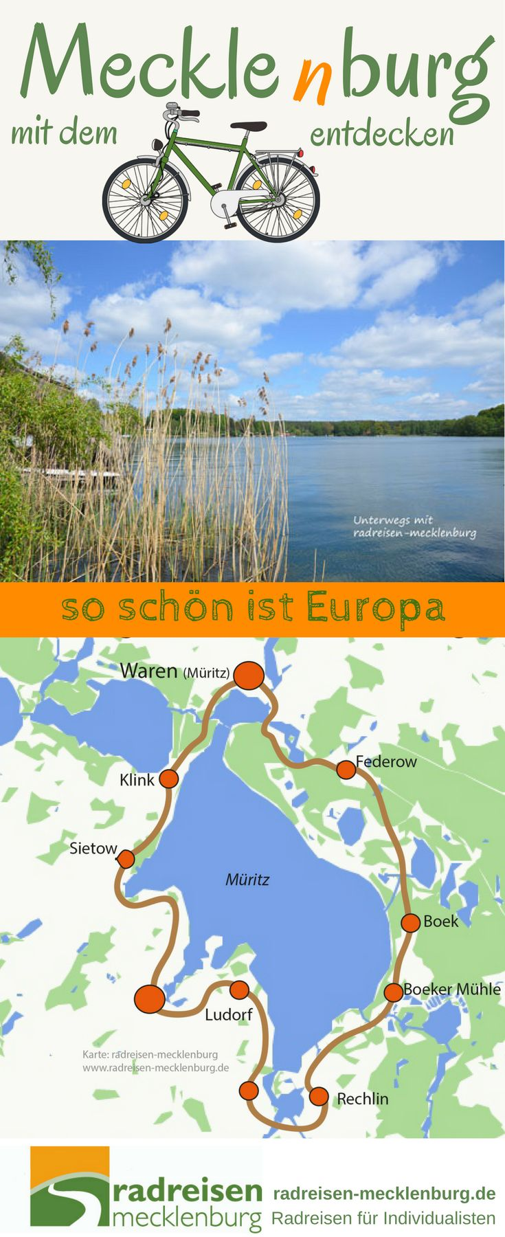 Mitten in Europa, im Nordosten Deutschlands liegt eine der schönsten Seenlandschaften überhaupt. Die #Müritz mit ihren benachbarten mehr als 1000 Seen ist ein wunderbarer Ort für #Urlaub in #Deutschland. radreisen-mecklenburg zeigt euch diese fantastische Region.