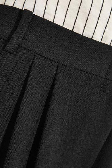 Tibi - Striped Linen-blend And Crepe Wide-leg Pants - Black - US10