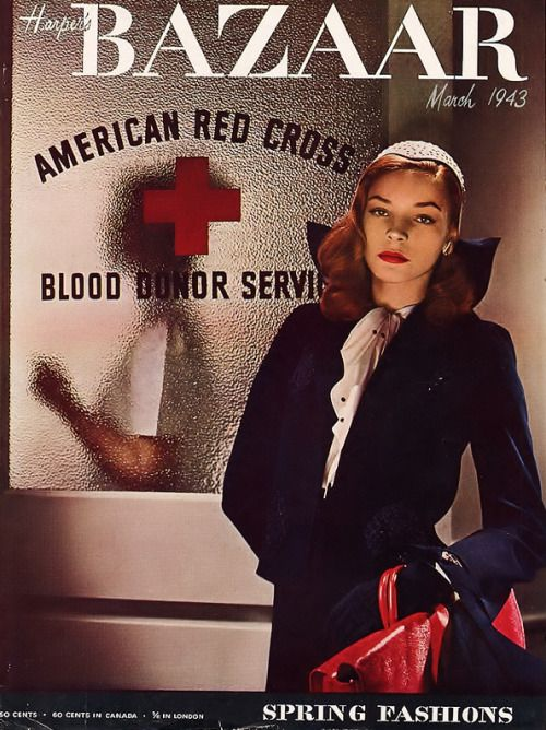 """bogarted: """" The above cover for the March issue of Harper's Bazaar was when Lauren Bacall was first noticed by Hollywood.It caught the eye of Slim Keith, who then persuaded her husband the director Howard Hawks to bring Bacall out from New York for a..."""