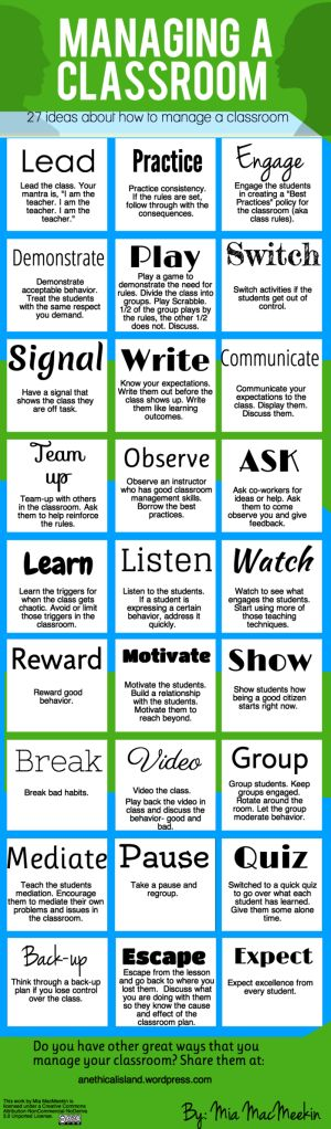 "27 Tips For Effective Classroom Management provides an everything but the kitchen sink approach to the classroom. It does include some important ones like listen and observe.  I wish that the author would have included ""Encourage questions"" and ""Let the learners set the agenda within a framework."""