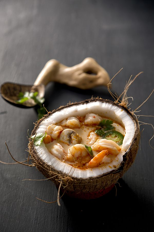 Shrimp Coconut Curry Soup { HOLY PRESENTATION BATMAN.....GORGEOUS.....I WILL BE PLATING THIS SOUP THIS EXACT WAY}