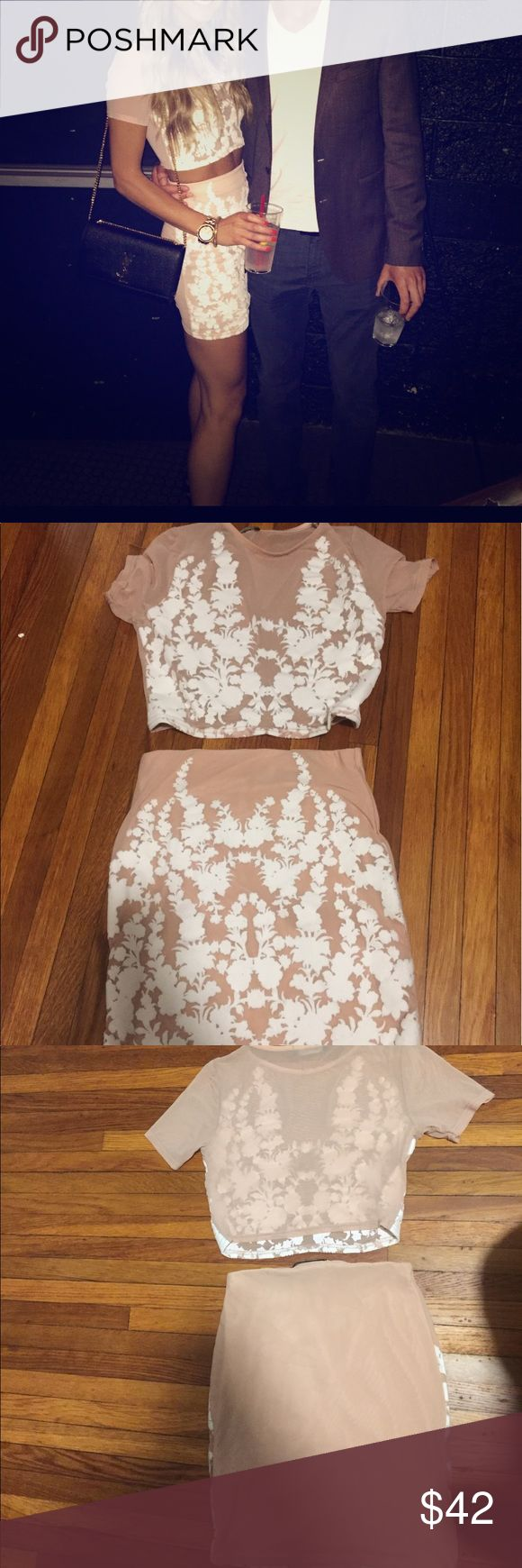 Missguided top&skirt set Like new, only worn one time for my birthday. In excellent condition no flaws. Skirt is lined, top is not but the details cover a lot of the front area. Tag was cutout but it's almost like a mesh fabric. Nude and white color. Size xs, but stretchy and could fit a small. Missguided Dresses Mini