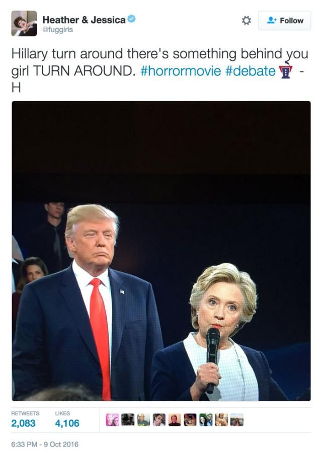 Funniest Memes from the Second Presidential Debate: There's Something Behind You