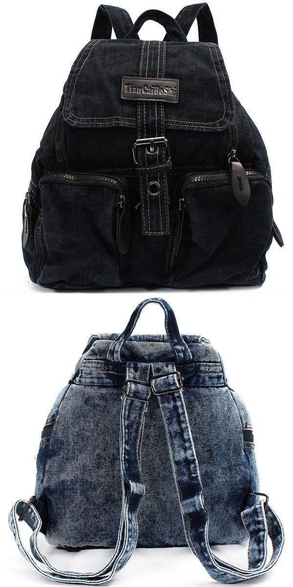 Backpack 35l women cowboy canvas bag multi pocket travel