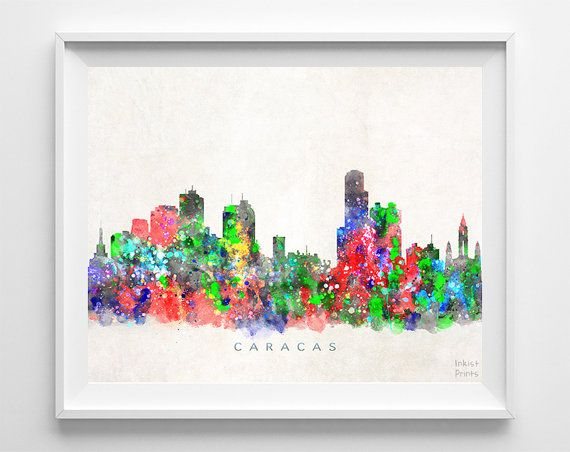 Caracas Skyline Print Venezuela Poster Watercolor by InkistPrints