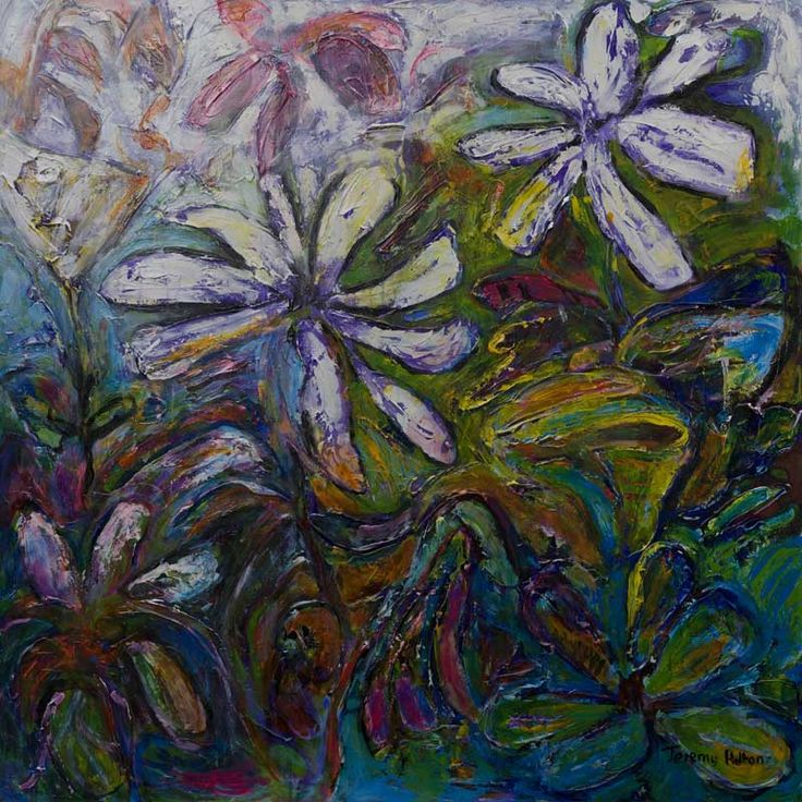 'Undergrowth' 120 by 120 cms oil on canvas by Jeremy Holton   #painting #flowers #art http://www.jeremyholton.com http://thailand-painting-holidays.com Visit our art and photography guest house in NE Thailand https://plus.google.com/u/0/104359568476968412848?rel=author