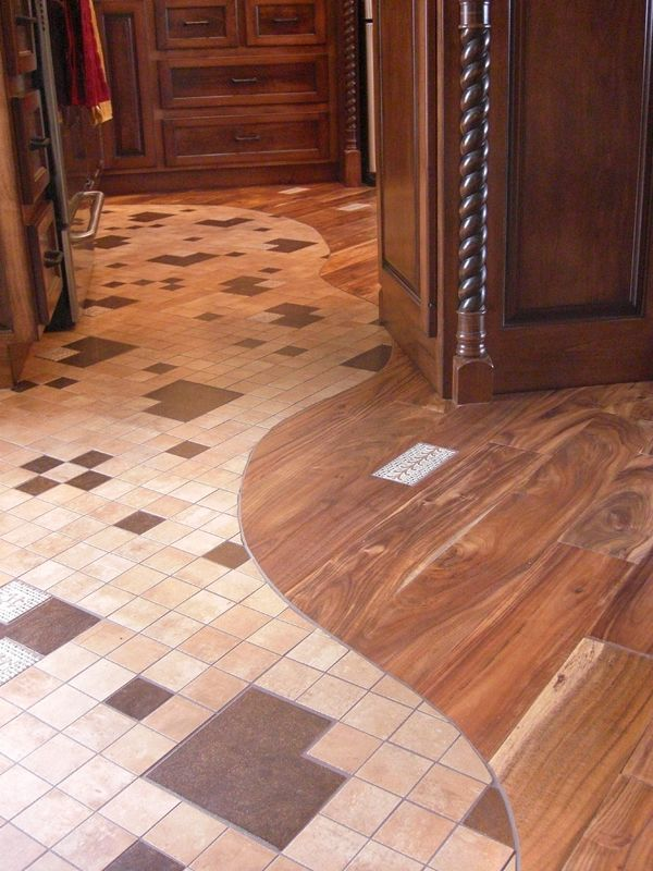 Another awesome combination of hardwood and tile flooring Stone flooring types