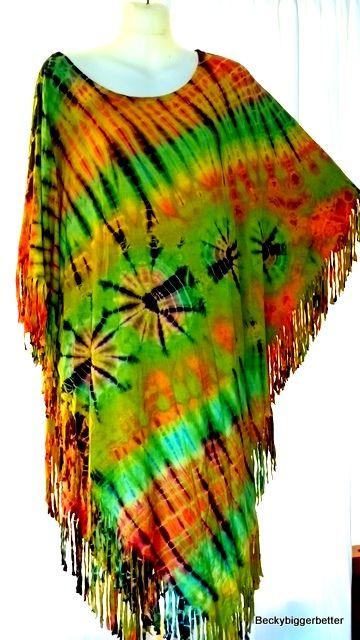 Big PlusTop poncho Tie Dye size 20 22 24 26 ++ Dip Hem Soft Flowing stretch
